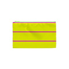 Background Image Horizontal Lines And Stripes Seamless Tileable Magenta Yellow Cosmetic Bag (xs)