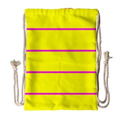 Background Image Horizontal Lines And Stripes Seamless Tileable Magenta Yellow Drawstring Bag (large)