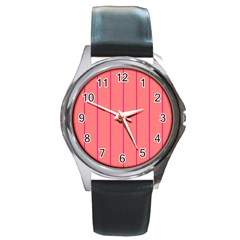 Background Image Vertical Lines And Stripes Seamless Tileable Deep Pink Salmon Round Metal Watch
