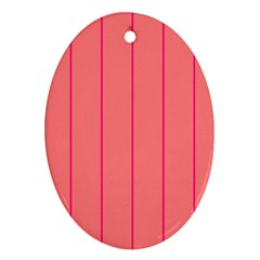 Background Image Vertical Lines And Stripes Seamless Tileable Deep Pink Salmon Ornament (oval)