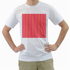 Background Image Vertical Lines And Stripes Seamless Tileable Deep Pink Salmon Men s T-Shirt (White) (Two Sided)