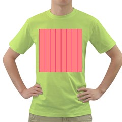 Background Image Vertical Lines And Stripes Seamless Tileable Deep Pink Salmon Green T-Shirt