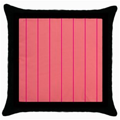 Background Image Vertical Lines And Stripes Seamless Tileable Deep Pink Salmon Throw Pillow Case (black)
