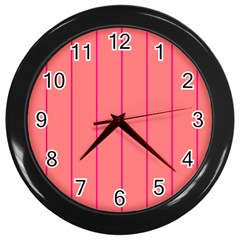 Background Image Vertical Lines And Stripes Seamless Tileable Deep Pink Salmon Wall Clocks (Black)