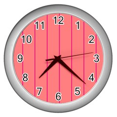 Background Image Vertical Lines And Stripes Seamless Tileable Deep Pink Salmon Wall Clocks (silver)
