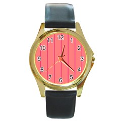 Background Image Vertical Lines And Stripes Seamless Tileable Deep Pink Salmon Round Gold Metal Watch