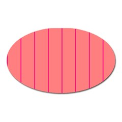 Background Image Vertical Lines And Stripes Seamless Tileable Deep Pink Salmon Oval Magnet