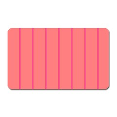 Background Image Vertical Lines And Stripes Seamless Tileable Deep Pink Salmon Magnet (rectangular)