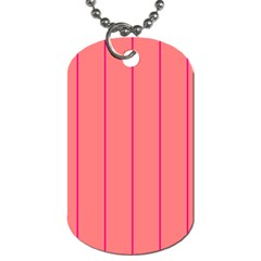 Background Image Vertical Lines And Stripes Seamless Tileable Deep Pink Salmon Dog Tag (One Side)