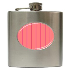 Background Image Vertical Lines And Stripes Seamless Tileable Deep Pink Salmon Hip Flask (6 Oz)