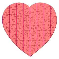 Background Image Vertical Lines And Stripes Seamless Tileable Deep Pink Salmon Jigsaw Puzzle (heart)