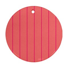 Background Image Vertical Lines And Stripes Seamless Tileable Deep Pink Salmon Round Ornament (two Sides)