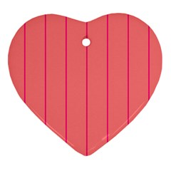 Background Image Vertical Lines And Stripes Seamless Tileable Deep Pink Salmon Heart Ornament (two Sides)