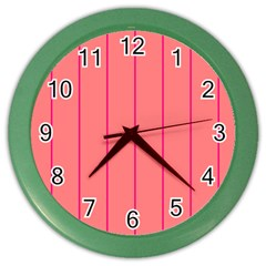 Background Image Vertical Lines And Stripes Seamless Tileable Deep Pink Salmon Color Wall Clocks