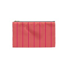 Background Image Vertical Lines And Stripes Seamless Tileable Deep Pink Salmon Cosmetic Bag (small)