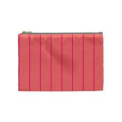 Background Image Vertical Lines And Stripes Seamless Tileable Deep Pink Salmon Cosmetic Bag (Medium)