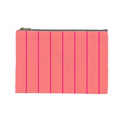 Background Image Vertical Lines And Stripes Seamless Tileable Deep Pink Salmon Cosmetic Bag (large)
