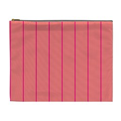 Background Image Vertical Lines And Stripes Seamless Tileable Deep Pink Salmon Cosmetic Bag (xl)