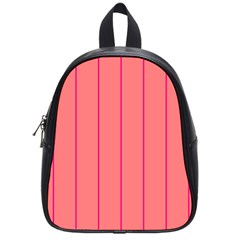 Background Image Vertical Lines And Stripes Seamless Tileable Deep Pink Salmon School Bags (small)
