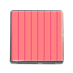 Background Image Vertical Lines And Stripes Seamless Tileable Deep Pink Salmon Memory Card Reader (square)