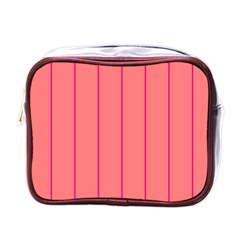 Background Image Vertical Lines And Stripes Seamless Tileable Deep Pink Salmon Mini Toiletries Bags