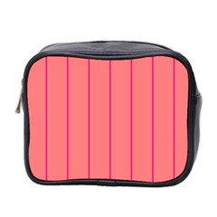 Background Image Vertical Lines And Stripes Seamless Tileable Deep Pink Salmon Mini Toiletries Bag 2 Side