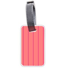Background Image Vertical Lines And Stripes Seamless Tileable Deep Pink Salmon Luggage Tags (one Side)