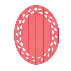 Background Image Vertical Lines And Stripes Seamless Tileable Deep Pink Salmon Ornament (oval Filigree)