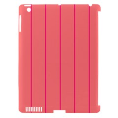 Background Image Vertical Lines And Stripes Seamless Tileable Deep Pink Salmon Apple Ipad 3/4 Hardshell Case (compatible With Smart Cover)