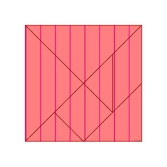 Background Image Vertical Lines And Stripes Seamless Tileable Deep Pink Salmon Acrylic Tangram Puzzle (4  X 4 )