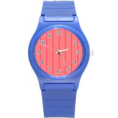 Background Image Vertical Lines And Stripes Seamless Tileable Deep Pink Salmon Round Plastic Sport Watch (s)