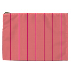Background Image Vertical Lines And Stripes Seamless Tileable Deep Pink Salmon Cosmetic Bag (xxl)