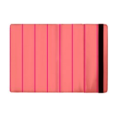 Background Image Vertical Lines And Stripes Seamless Tileable Deep Pink Salmon Apple Ipad Mini Flip Case