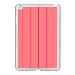Background Image Vertical Lines And Stripes Seamless Tileable Deep Pink Salmon Apple Ipad Mini Case (white)