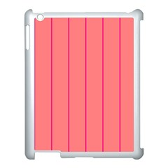 Background Image Vertical Lines And Stripes Seamless Tileable Deep Pink Salmon Apple Ipad 3/4 Case (white)