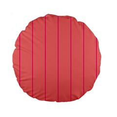 Background Image Vertical Lines And Stripes Seamless Tileable Deep Pink Salmon Standard 15  Premium Round Cushions