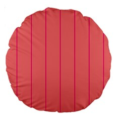 Background Image Vertical Lines And Stripes Seamless Tileable Deep Pink Salmon Large 18  Premium Round Cushions