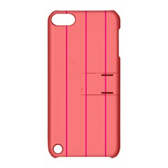 Background Image Vertical Lines And Stripes Seamless Tileable Deep Pink Salmon Apple Ipod Touch 5 Hardshell Case With Stand