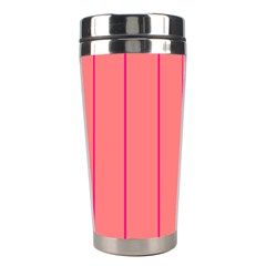 Background Image Vertical Lines And Stripes Seamless Tileable Deep Pink Salmon Stainless Steel Travel Tumblers