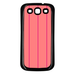 Background Image Vertical Lines And Stripes Seamless Tileable Deep Pink Salmon Samsung Galaxy S3 Back Case (black)