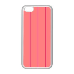 Background Image Vertical Lines And Stripes Seamless Tileable Deep Pink Salmon Apple Iphone 5c Seamless Case (white)