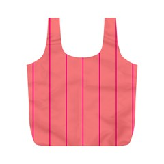 Background Image Vertical Lines And Stripes Seamless Tileable Deep Pink Salmon Full Print Recycle Bags (m)