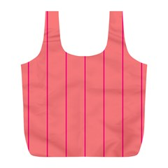 Background Image Vertical Lines And Stripes Seamless Tileable Deep Pink Salmon Full Print Recycle Bags (l)