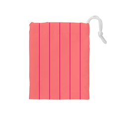 Background Image Vertical Lines And Stripes Seamless Tileable Deep Pink Salmon Drawstring Pouches (medium)