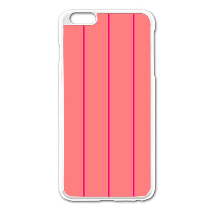 Background Image Vertical Lines And Stripes Seamless Tileable Deep Pink Salmon Apple iPhone 6 Plus/6S Plus Enamel White Case