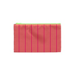Background Image Vertical Lines And Stripes Seamless Tileable Deep Pink Salmon Cosmetic Bag (xs)