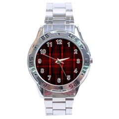Black And Red Backgrounds Stainless Steel Analogue Watch