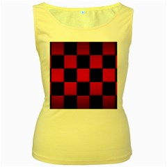 Black And Red Backgrounds Women s Yellow Tank Top