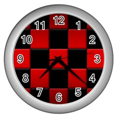 Black And Red Backgrounds Wall Clocks (silver)