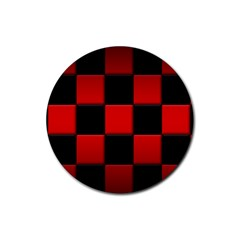 Black And Red Backgrounds Rubber Coaster (round)